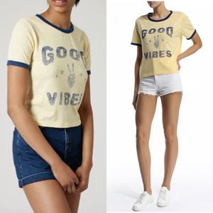 TOPSHOP Yellow & Navy Good Vibes Cropped Tee